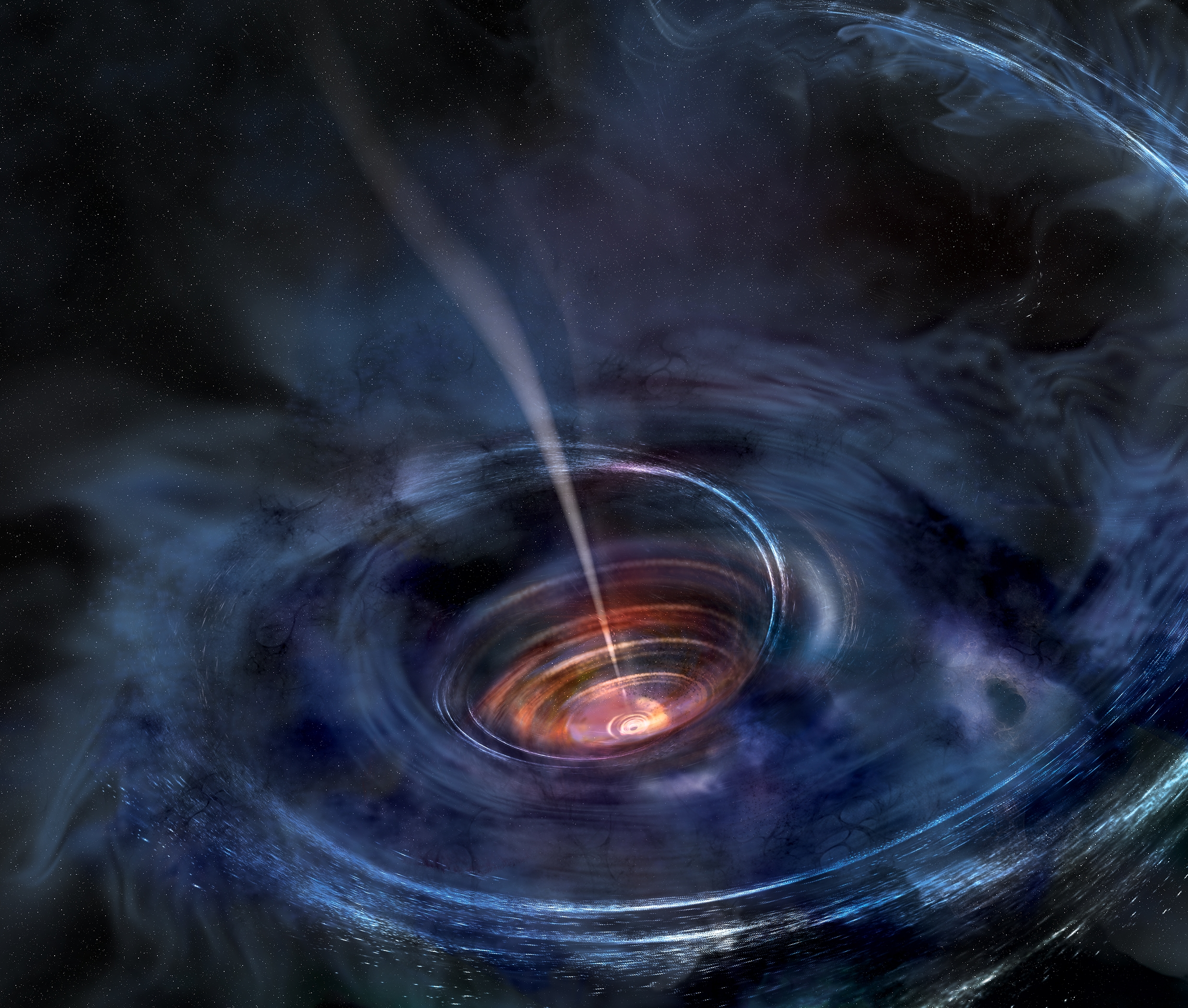 Artist Rendering Of A Supermassive Black Hole Following The Tidal Disruption Of A Star That Wandered