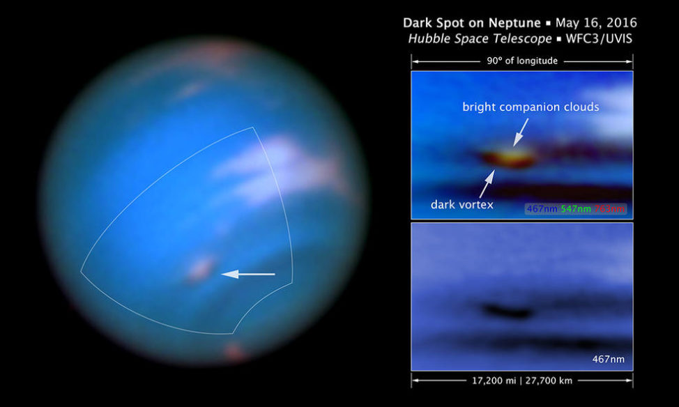 This new Hubble Space Telescope image confirms the presence of a dark vortex in the atmosphere of Neptune. (NASA, ESA, and M.H. Wong and J. Tollefson (UC Berkeley))