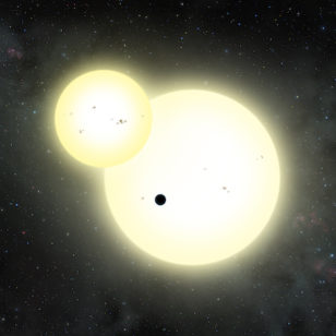 The Kepler-1647b planet and secondary star transiting the primary star. (Lynette Cook)