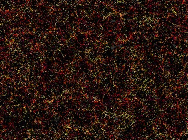 This is one slice through the map of the large-scale structure of the Universe from the Sloan Digital Sky Survey and its Baryon Oscillation Spectroscopic Survey. (Daniel Eisenstein and SDSS-III)