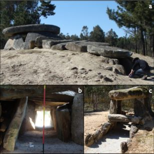Photographs of the megalithic cluster of Carregal do Sal: a) Dolmen da Orca, a typical dolmenic structure in western Iberia; b) view of the passage and entrance while standing within the d'window of visibility'; c) Orca de Santo Tisco, a much smaller passage or corridor. (F. Silva)