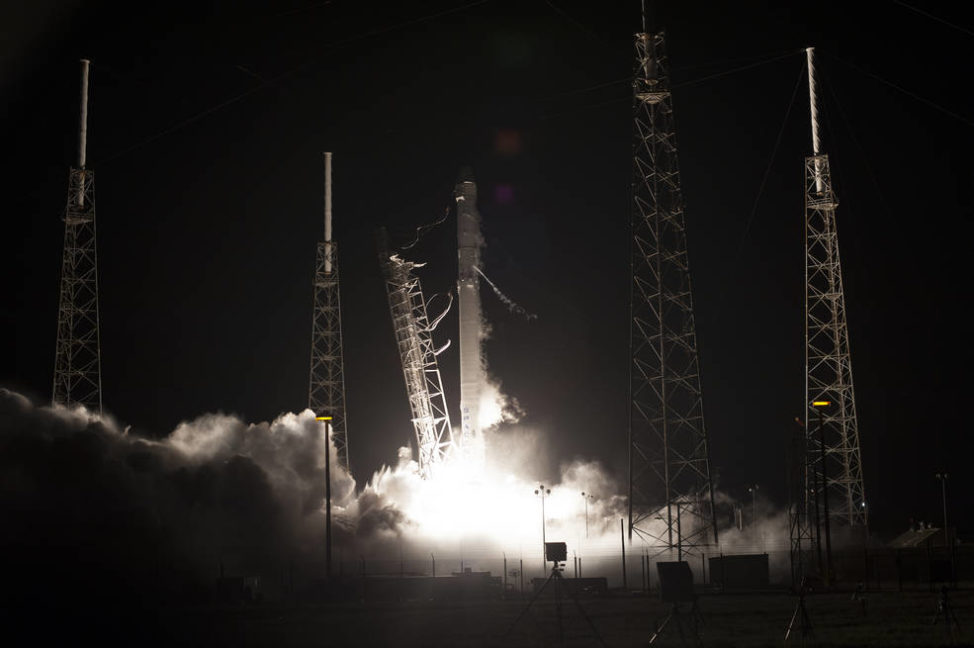 SpaceX's Dragon cargo spacecraft, sitting atop a Falcon 9 rocket, was launched from Cape Canaveral Air Force Station in Florida on 7/18/16. Among the 2,268 kilograms of cargo it carried were instruments to perform the first-ever DNA sequencing in space. (NASA/Tony Gray)