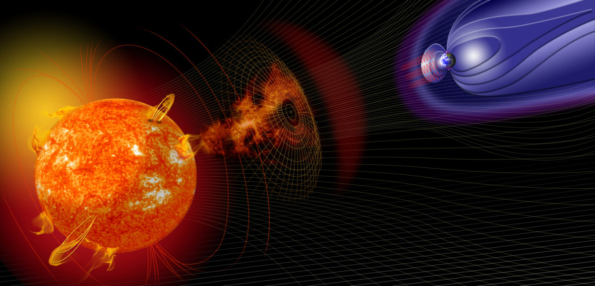 Artist illustration of events on the sun changing the conditions in Near-Earth space which can generate geomagnetic storms. These storms can interupt radar, radio communications and electrical grids on Earth. (NASA)