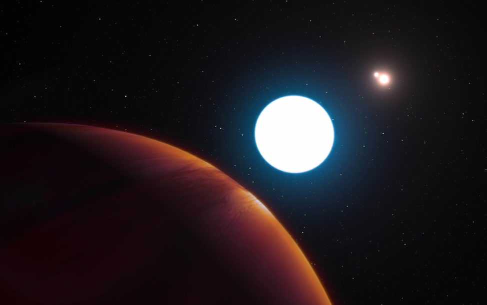 This is an artist impression of the triple star system HD 131399, which is a mere 320 light years away. Astronomers who used a telescope at the European Southern Observatory in Chile announced their discovery on 7/7/16. (L. Calçada/ESO)