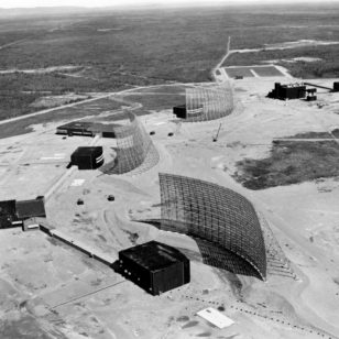 Three of the huge AN/FPS-50 radars at the Ballistic Missile Early Warning System Site 2, near Anderson, Alaska, in 1962. (Library of Congress/US National Park Service)