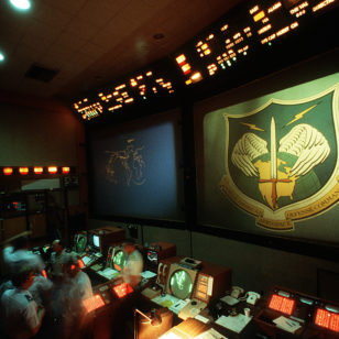 The command Post of the North American Air Defense Command -NORAD - Cheyenne Mountain Complex (US Dept. of Defense)