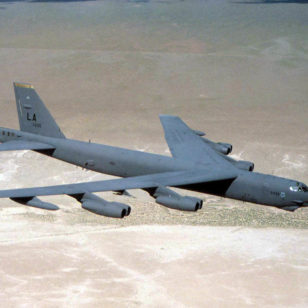US Air Force B52 Stratofortress aircraft like was loaded with nuclear weapons and flew a constant 24-hour airborne alert in case of a possible nuclear attack by the Soviet Union. (USAF)