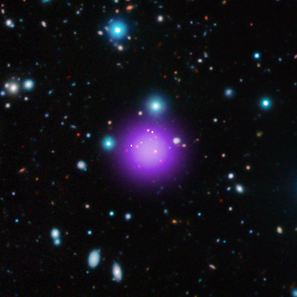 On 8/30/16 it was announced that scientists using various NASA, ESA and ground-based telescopes have found the most distant galaxy cluster so far. At 11.1 billion light years from Earth this is Galaxy Cluster CL J1001+0220 or CLJ1001 for short. (NASA/CXC/CEA/T. Wang et al; Infrared: ESO/UltraVISTA; Radio: ESO/NAOJ/NRAO/ALMA)
