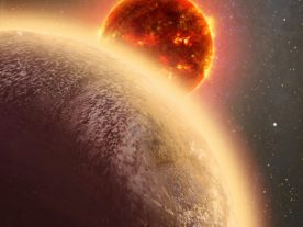 This artist's conception shows the rocky exoplanet GJ 1132b, located 39 light-years from Earth. New research shows that it might possess a thin, oxygen atmosphere - but no life due to its extreme heat. (Dana Berry/Skyworks Digital/CfA)