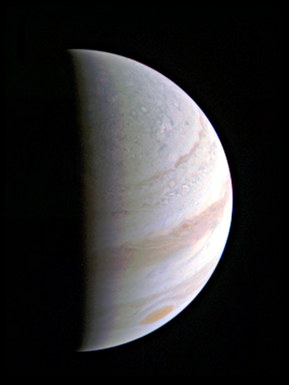 NASA's Juno spacecraft successfully completed the first of 36 scheduled orbital flybys of Jupiter recently. In this view, Jupiter's north polar region is coming into view as the spacecraft approaches the giant planet. This view of the Jovian planet was taken on 8/27/16, when Juno was 703,000 kilometers away. (NASA/JPL-Caltech/SwRI/MSSS)