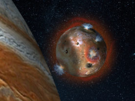 Artist's concept of the atmospheric collapse of Jupiter's volcanic moon Io. (SwRI/Andrew Blanchard)