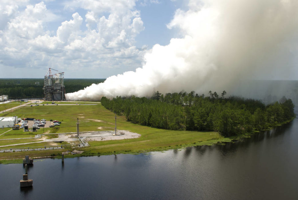 A successful developmental test of RS-25 rocket engine No. 0528 was conducted on 7/29/16 at NASA's Stennis Space Center, near Bay St. Louis, Mississippi. The RS-25 engine will be used for the most powerful rocket in the world – the Space Launch System (SLS), which will launch humans deeper into space than ever before, including on the journey to Mars. (NASA)
