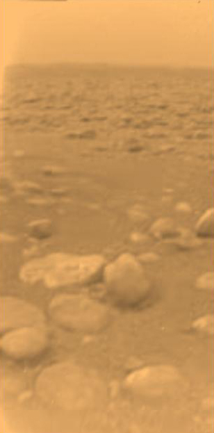 This image was returned Jan. 14, 2005, by the European Space Agency's Huygens probe after its successful descent to land on Titan. (ESA/NASA/JPL/University of Arizona)