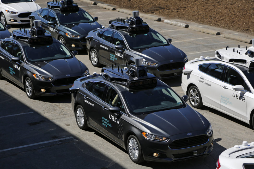 Here's a group of self-driving Uber vehicles that are ready to take journalists on rides during a media preview at Uber's Advanced Technologies Center in Pittsburgh, on 9/12/16. (AP)