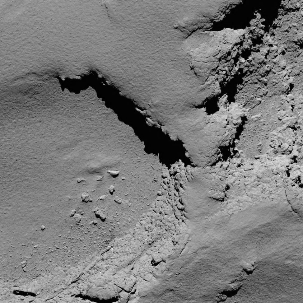 One of the last images of Comet 67P/Churyumov-Gerasimenko that was taken by the European Space Agency's Rosetta mission. This shot was taken at 0818 UTC 9/30/16 from an altitude of 5.7 km above the comet's surface. Rosetta's mission ended when the spacecraft was sent crashing into the comet's surface. (ESA)