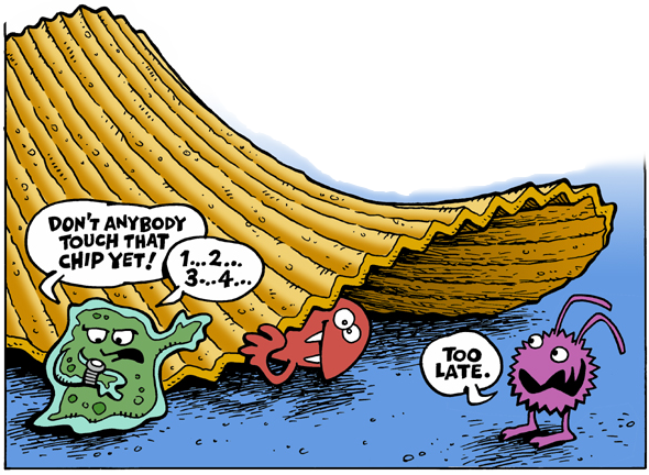 Cartoon illustrating the five-second rule (Greg Williams via Wikimedia)