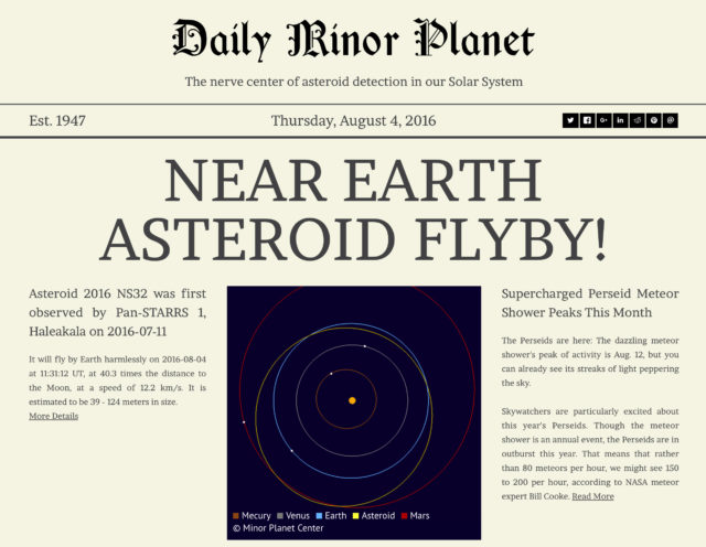 Introducing the Daily Minor Planet: Delivering the Latest Asteroid News (Harvard-Smithsonian Center for Astrophysics)