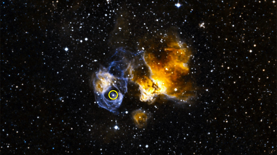 On 9/29/16 NASA announced the discovery of the first gamma-ray binary system to be found inside another galaxy. The binary system called LMC P3 (circled) was found in a supernova remnant called DEM L241 within the Large Magellanic Cloud. (NOAO/CTIO/MCELS, DSS)