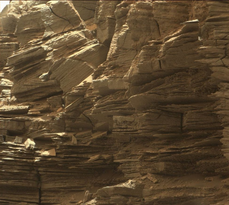 "This image taken by NASA's Curiosity Mars rover on 9/8/16 provides a view of an outcrop with finely layered rocks within the ""Murray Buttes"" region on lower Mount Sharp. (NASA/JPL-Caltech/MSSS)"