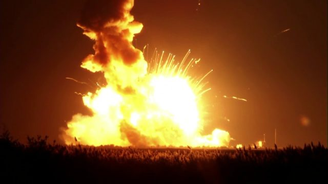 The Orbital Sciences Corporation Antares rocket, with the Cygnus spacecraft onboard suffers a catastrophic anomaly moments after launch on October 28, 2014 from the Mid-Atlantic Regional Spaceport at NASA's Wallops Flight Facility in Virginia. (NASA)