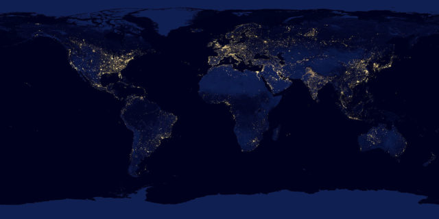 Composite image of the Earth at night assembled from data acquired by the Suomi National Polar-orbiting Partnership (Suomi NPP) satellite over nine days in April 2012 and thirteen days in October 2012. Population estimates based on similar satellite data can help improve vaccination campaigns. (NASA Earth Observatory/NOAA NGDC)
