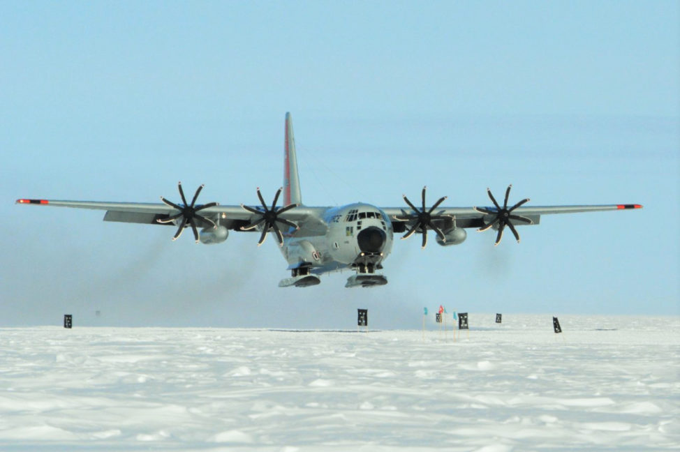 "The first C130 of the season requires 5 kilometers of visibility, low cross winds and temperatures above minus 50 Celsius.  If conditions change during the flight, the plane will ""boomerang"" back to McMurdo."