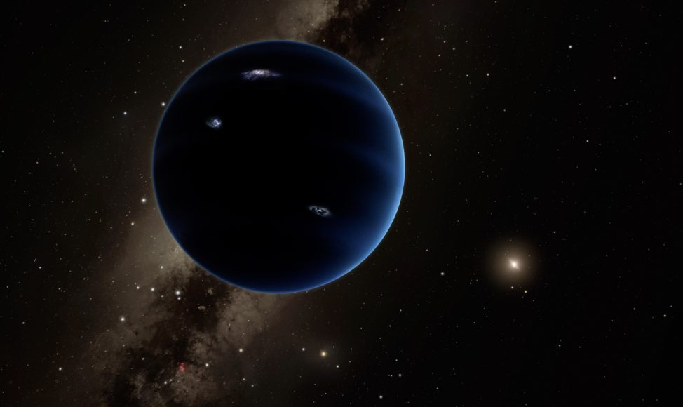 This artistic rendering shows the distant view from Planet Nine back towards the sun. The planet is thought to be gaseous, similar to Uranus and Neptune. Hypothetical lightning lights up the night side. (Caltech/R. Hurt (IPAC))