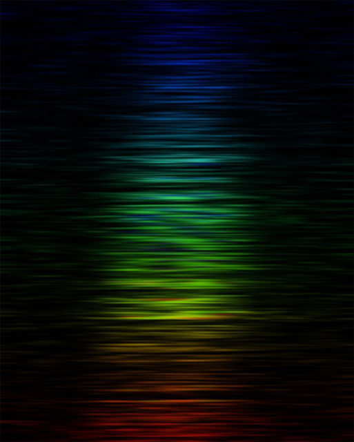 The intensity of FRB 150807 at different radio frequencies or colors -- red corresponds to lower frequencies and blue to higher frequencies. (Dr. Vikram Ravi/Caltech)