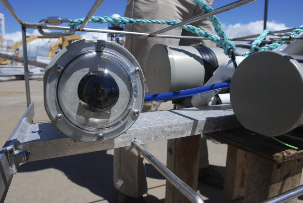 This is a camera system being by the US National Ocean and Atmospheric Administration to study and overall health of deep-water bottom fish species around the Hawaiian Islands. The second of two phases of this survey began in mid-October. It brought local commercial fishermen and scientists together to get a count of several species of deep-water grouper and snapper, which are popular table fare. (AP)