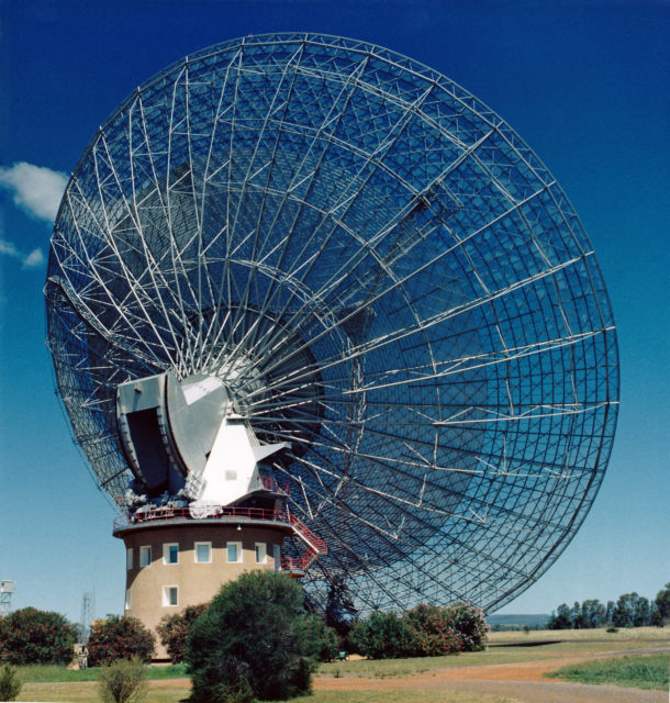 Fast radio bursts discovered in 2007 with the Parkes Radio Telescope in Australia. (CSIRO via Wikimedia Commons)