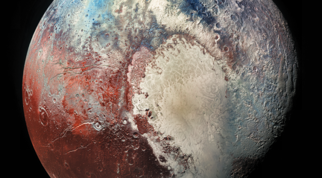 In this image of Pluto taken by NASA's New Horizons spacecraft, different colors represent different compositions of surface ices, revealing a surprisingly active body. (Image: NASA/Johns Hopkins University Applied Physics Laboratory/Southwest Research Institute)