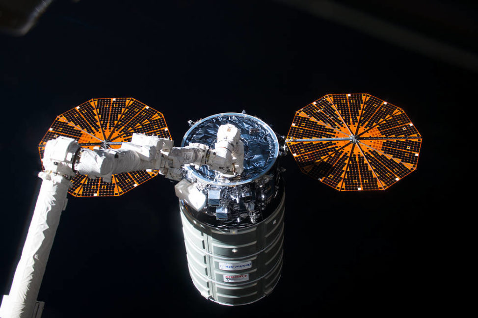 Another ISS image for you. Here an Orbital ATK's Cygnus cargo spacecraft launched a few days earlier from NASA's Wallops Island, Va., spaceport is seen being captured by the Canadarm2 robotic arm on the International Space Station on 10/17/16. The resupply ship was packed with more than 2,300 kilos of cargo and research equipment. (NASA)