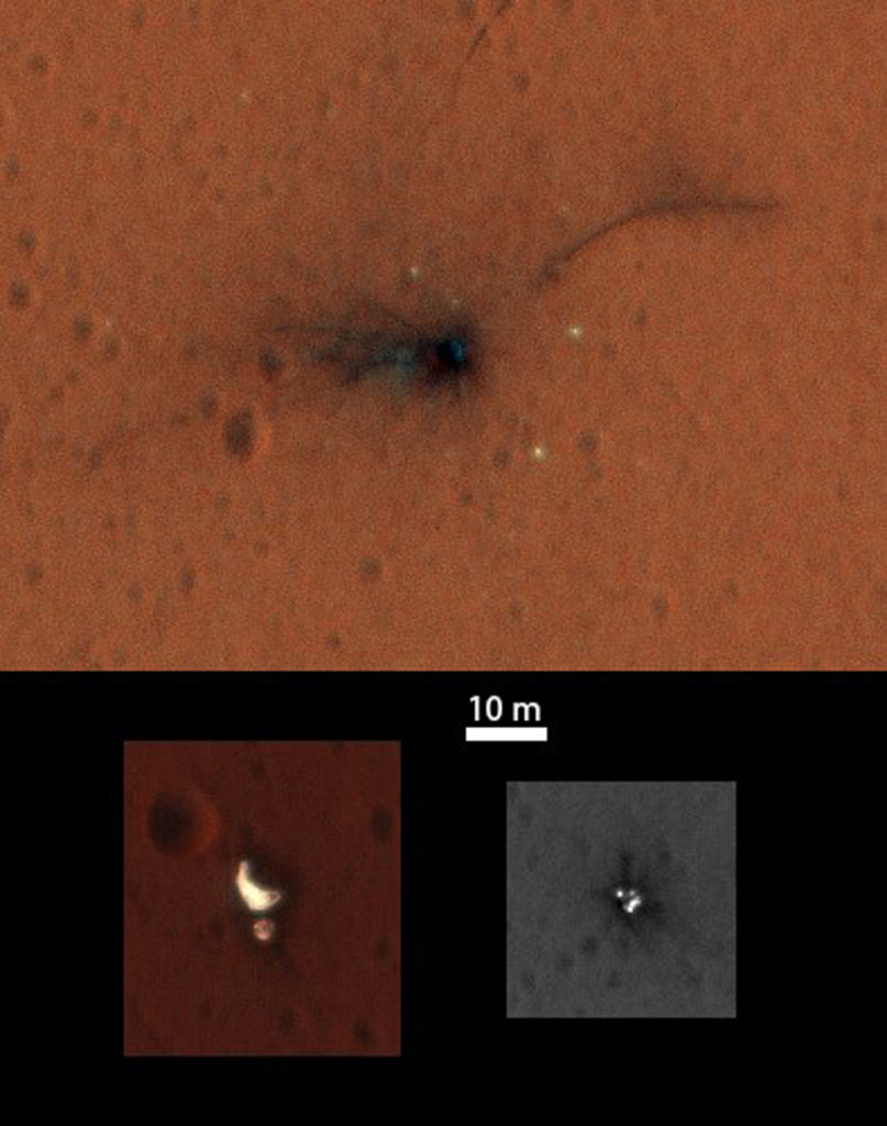 Colorized composite image of ESA's ExoMars Schiaparelli module elements capture by NASA's Mars Reconnaissance Orbiter High Resolution Imaging Science Experiment (HiRISE) on 1 November 2016. Both the main impact site (top) and the region with the parachute and rear heatshield (bottom left) are now captured in the central portion of the HiRISE imaging swath that is imaged through three different filters, enabling a colour image to be constructed. The front heatshield (bottom right) lies outside the central colour imaging swath. (NASA/JPL-Caltech/University of Arizona)