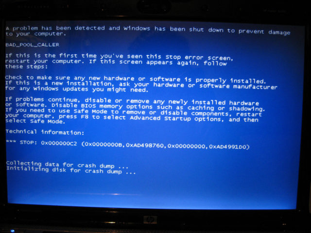 Computer monitor displaying the dreaded 'Blue Screen of Death' after malfunction. (Michael Ocampo via Flickr/Creative Commons)