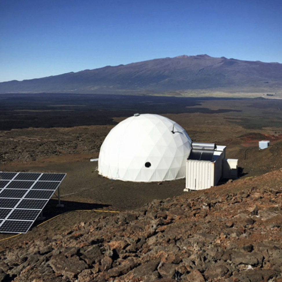 On January 19, a team of four men and two women moved into their new simulated space home on Hawaii's dormant Mauna Loa volcano to begin where they will live for the next 8 months. The team is conducting a human-behavior study that could help NASA as it develops plans for sending astronauts on deep space destinations such as Mars. (University of Hawaii via AP)