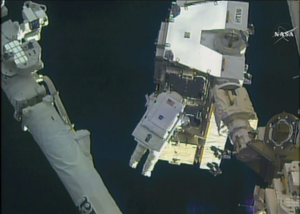 In this image made from a video, astronaut Peggy Whitson is seen taking a spacewalk outside the International Space Station on January 16. Both she and Commander Shane Kimbrough worked outside of the space station to connect new batteries on its sprawling power grid. (NASA via AP)