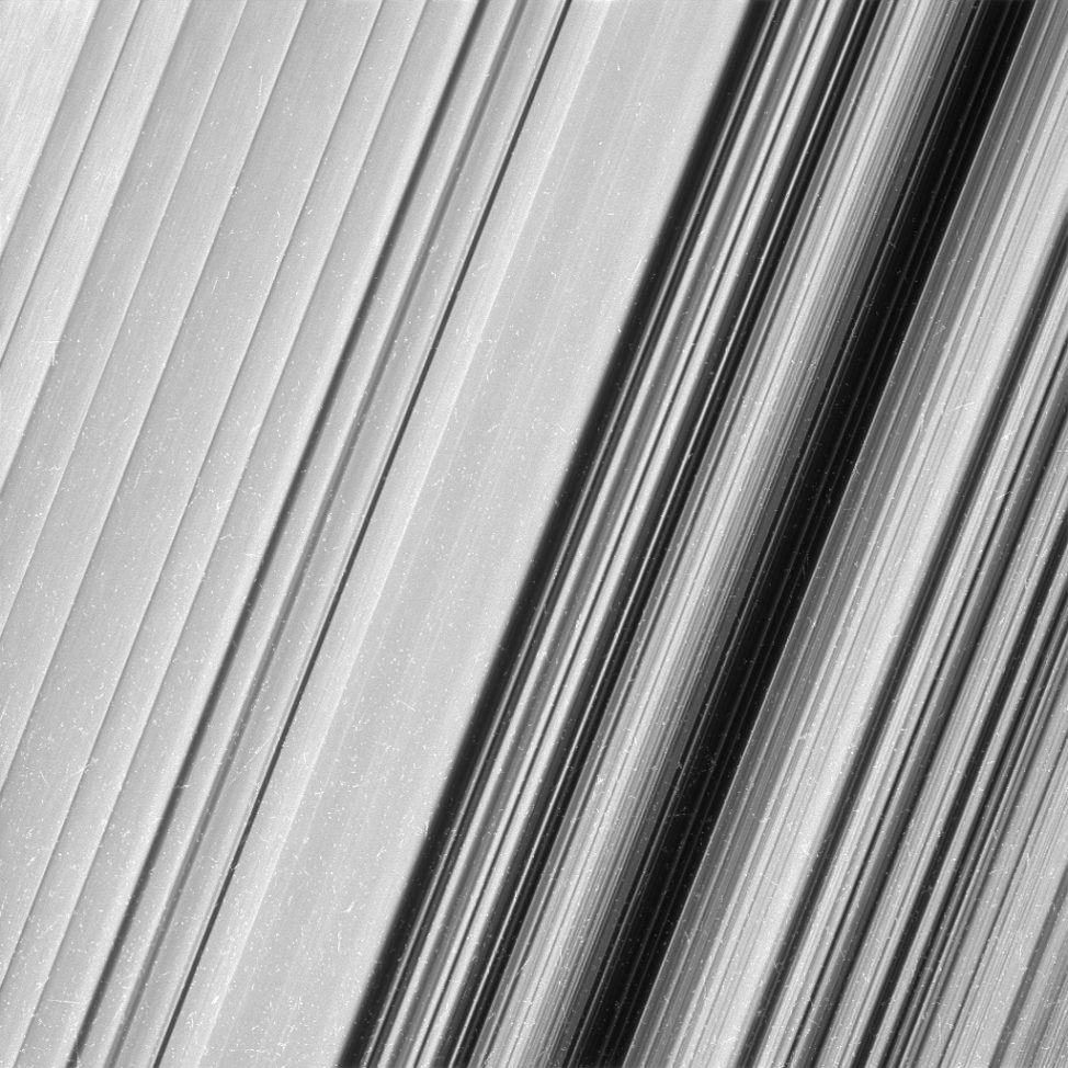 On Monday, NASA's Cassini Mission released this photo of Saturn's outer B ring, which shows a never-before-seen level of detail. Cassini made a series of dives through the outer edge of the main ring system as it wraps up its mission, scheduled to end in September 2017. (NASA/JPL-Caltech/Space Science Institute)
