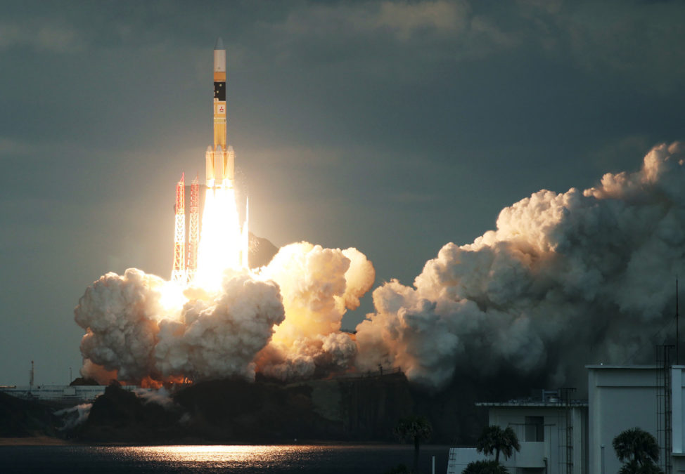 Japan's H-IIA rocket carrying the Kirameki-2 satellite was launched from Tanegashima Space Centre in southern Tanegashima Island, Kagoshima prefecture, on January 24, 2017. Along with modernizing Japanese military communications, the satellite reportedly will be used to better monitor North Korean missile launches. (AFP Photo/JIJI Press)