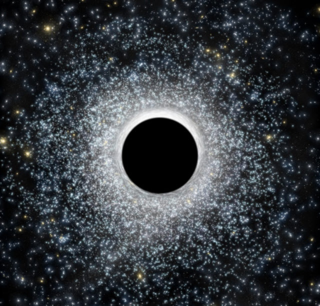 In this artist's illustration, an intermediate-mass black hole in the foreground distorts light from the globular star cluster in the background. (CfA / M. Weis)