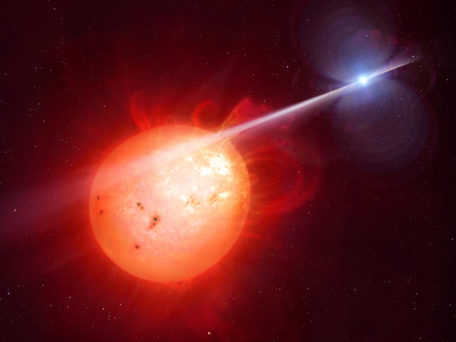 Artist's impression of AR Scorpii. In this unique double star a rapidly spinning white dwarf star (right) powers electrons up to almost the speed of light. (M. Garlick/University of Warwick, ESA/Hubble)