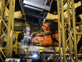 Engineers at NASA's Johnson Space Center on January 24 simulated the extreme vibrating conditions spacesuit-clad astronauts would experience as an Orion spacecraft is launched atop the powerful Space Launch System rocket on its way to deep space destinations. (NASA)