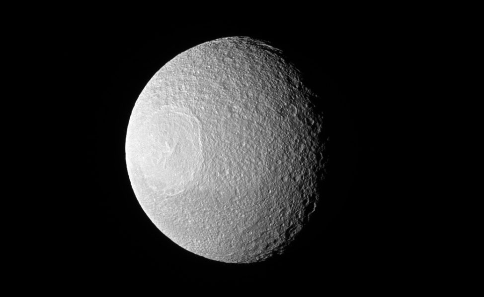 No, it's not the Death Star from Star Wars. This is an image, taken by the Cassini spacecraft and released January 23, of Tethys, one of Saturn's larger icy moons. The resemblance to the fictional space station is due to the enormous crater, Odysseus. (NASA/JPL-Caltech/Space Science Institute)