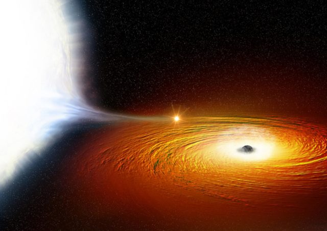 Artist illustration of a white dwarf in dangerously close orbit around a black hole. (NASA)