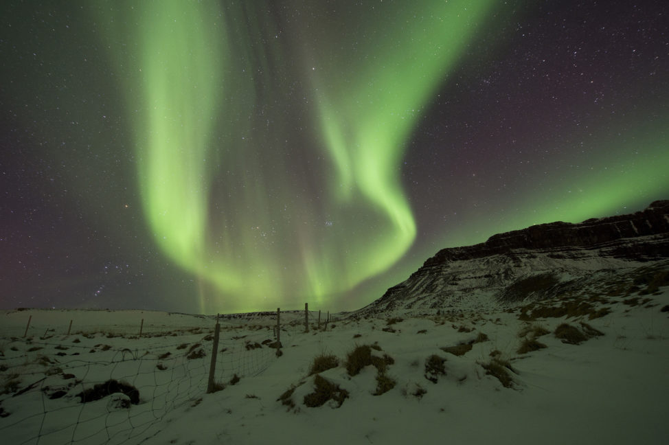 Here's a shot of the Northern Lights, or aurora borealis as seen over the skies of Bilfrost, Western Iceland on 3/1/17. The auroras are created as a result of collisions between particles in the Earth's atmosphere and charged particles released by the sun and carried by the solar wind. (AP)