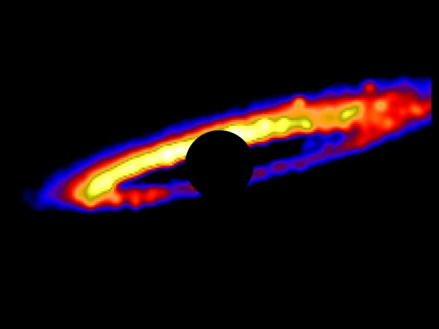 Simulated image of the HD 106906 stellar debris disk, showing a ring of rocky planet-forming material. (Erika Nesvold/Carnegie Institution for Science)