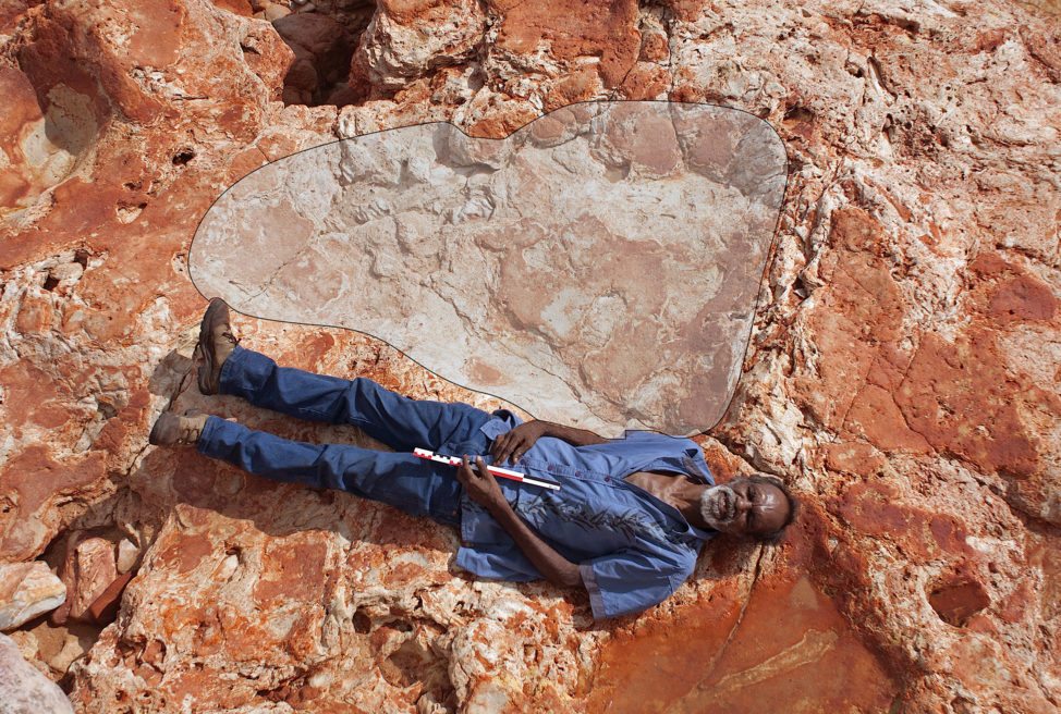 In a photo taken 3/26/17, Aboriginal elder and Goolarabooloo Law Boss Richard Hunter lies alongside a 1.75 meter footprint of a sauropod dinosaur track. Said to be the largest dinosaur track that had been found so far, it was discovered along with the footprints of 21 other dinosaur species on the coast of Northwestern Australia. (Damian Kelly-University of Queensland via Reuters)