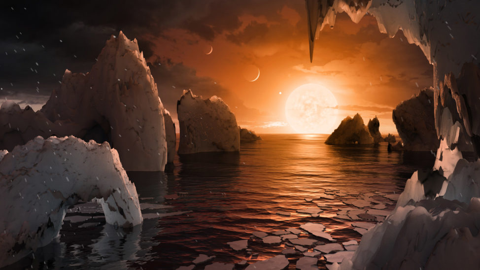 Artist imagery of the surface of exoplanet TRAPPIST-1f one of 7 planets discovered orbiting a nearby star that was announced on 2/22/17. (NASA/JPL-Caltech)