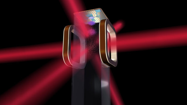 Artist's concept of an atom chip for use by NASA's Cold Atom Laboratory (CAL) aboard the International Space Station. CAL will use lasers to cool atoms to ultracold temperatures. (NASA)