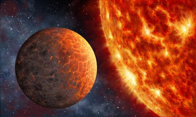 Artist's impression of the Venus-like Kepler-1649b exoplanet orbiting an M-class star 219 light-years from Earth. (Danielle Futselaar)