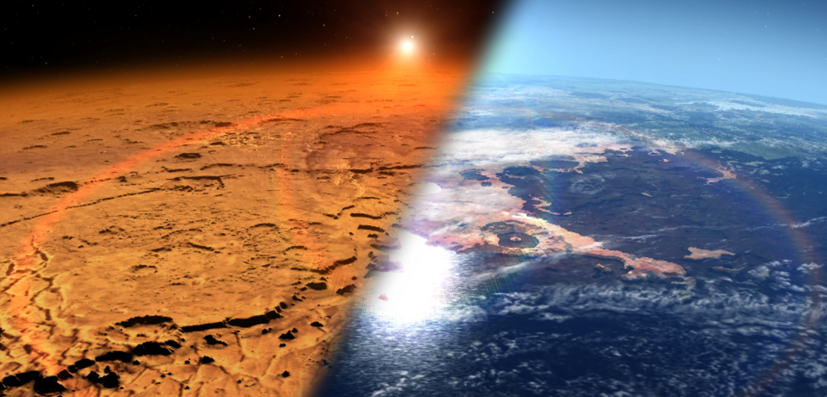 This artist's concept depicts the early Martian environment (right) – believed to contain liquid water and a thicker atmosphere – versus the cold, dry environment seen at Mars today (left). (NASA's Goddard Space Flight Center)